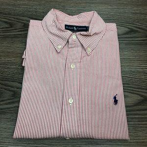 Polo Ralph Lauren Red & White Seersucker Shirt L